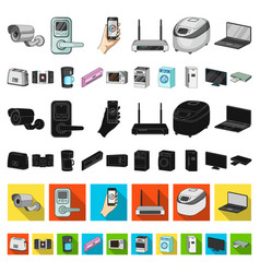smart home appliances cartoon icons in set vector image