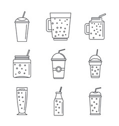 smoothie fruit juice icons set outline style vector image