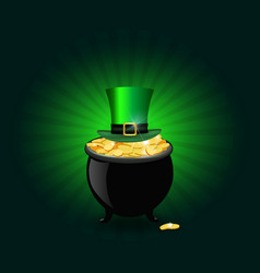 st patricks day symbols pot full of golden coins vector image