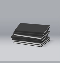 Stack of blank black books presentation of your vector