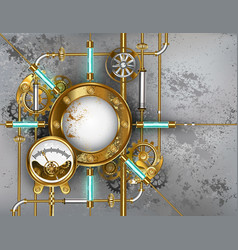 Steampunk round banner with pressure gauge vector