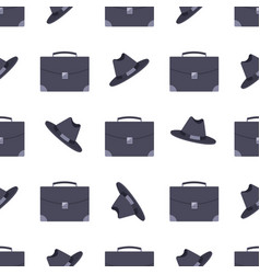 suitcase and black hat pattern vector image