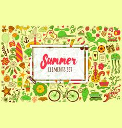 Summer set doodle elements travel drawing vector