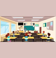 teacher at blackboard and children at school desks vector image