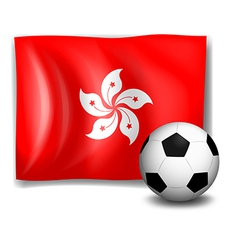 The flag of Hongkong and the soccer ball vector