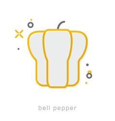 Thin line icons Bell pepper vector image vector image