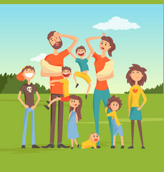 Tired parents with many children on nature vector
