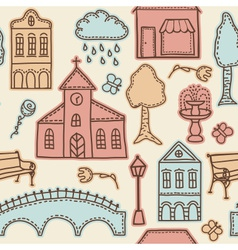 Town or city design elements on seamless pattern vector image