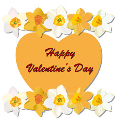 Valentines day heart with narcissus vector