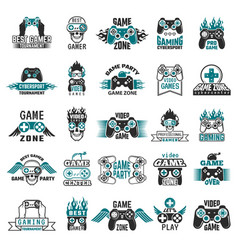 video game labels gaming console cybersport logo vector image