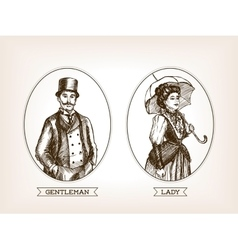 Vintage lady and gentleman sketch style vector