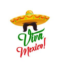 viva mexico sombrero with mustaches vector image