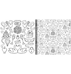 Wedding hand drawn set and seamless pattern vector