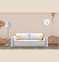 white sofa on old wall background vector image