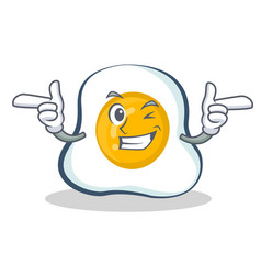 Wink fried egg character cartoon vector