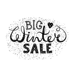 Winter big sale text lettering with heart vector image