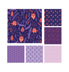 Woodland seamless patterns collection vector