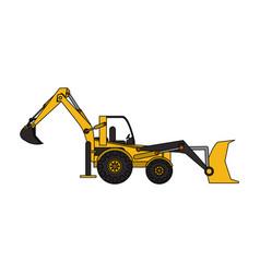 Yellow backhoe icon image vector