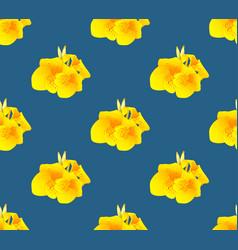 Yellow canna lily flower seamless on indigo blue vector