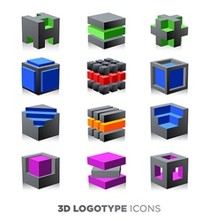 3d abstract cube Logotype set vector image vector image