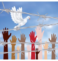 Hands Behind a Barbed Wire3 vector image vector image