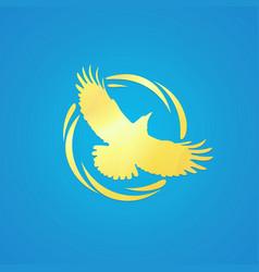 Logo of crow in golden color vector