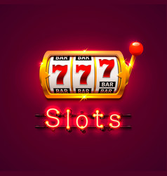neon golden slot machine wins the jackpot vector image