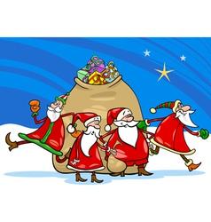 santa claus with presents cartoon vector image vector image