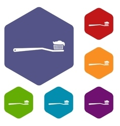 Toothbrush icons set vector image