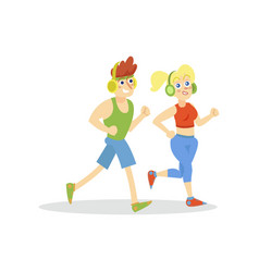 young man and woman with headphones running in vector image