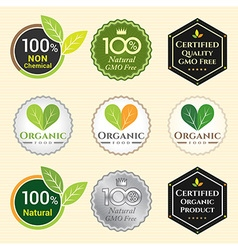 Badge Set of Certified organic Natural Fresh GMO vector image vector image