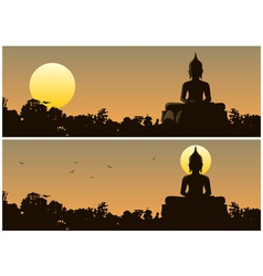 Buddha Sunset vector image vector image