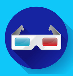flat anaglyph 3d glasses cinema icon 3d vector image