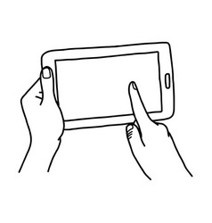 Hand using tablet with finger touching screen - vector