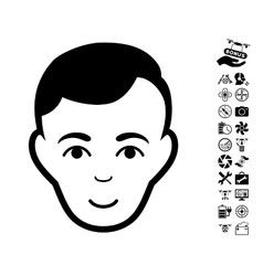 Man Face Icon With Air Drone Tools Bonus vector image