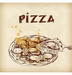 Vintage hand drawn pizza vector image vector image
