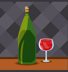 bottle and glass wine premium quality menu vector image