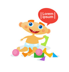 Cute baby boy playing with toys toddler happy vector