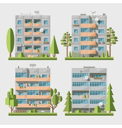 Panel houses flat set2 vector image