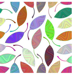 seamless pattern from multi-colored striped leaves vector image vector image