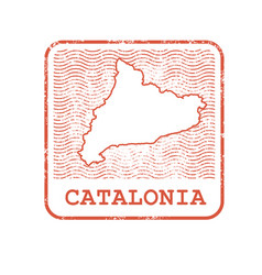 stamp with contour of map of catalonia vector image