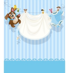 baby boy blue openwork announcement card vector image vector image