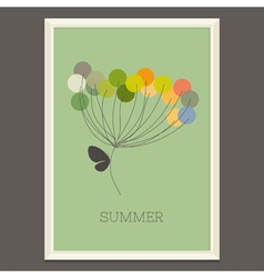 Colorful summer flower with butterfly vector