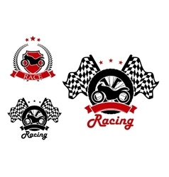 Motosport and racing icons with heraldic elements vector image