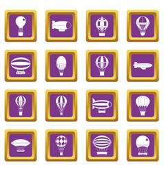 retro balloons aircraft icons set purple vector image vector image