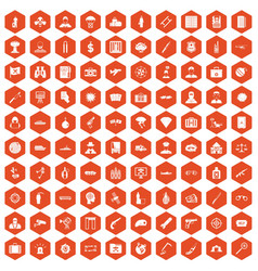 100 antiterrorism icons hexagon orange vector image