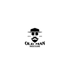 A man head vintage with hat glasses and beard vector