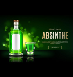 absinbottle and shot glass mock up banner vector image