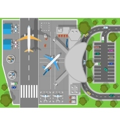 Airport a Top View Terminal and Aircraft vector