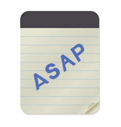 Asap lettering notebook template vector
